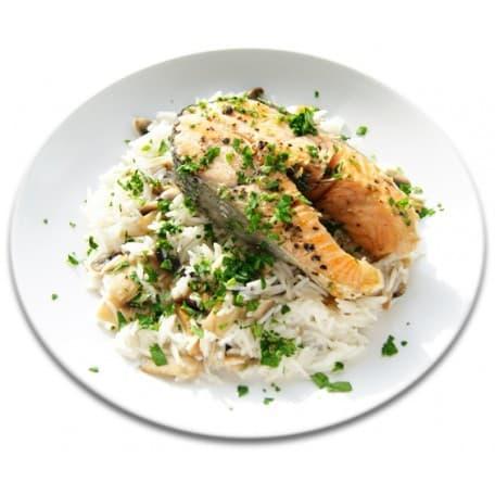 Рыба «По-Польски» со сливочным маслом и зеленью, рис отварной с овощами