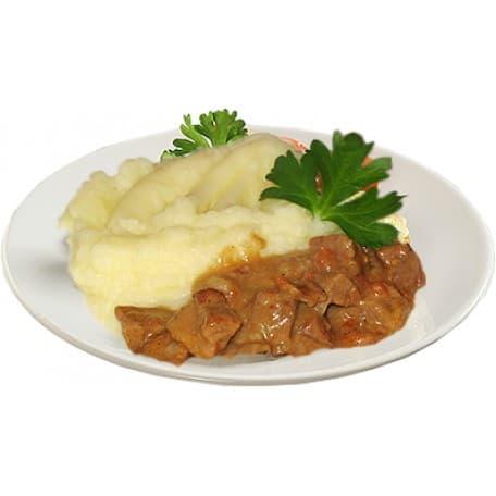 Гуляш из свинины, пюре картофельное (свинина, морковь, лук, картофель)