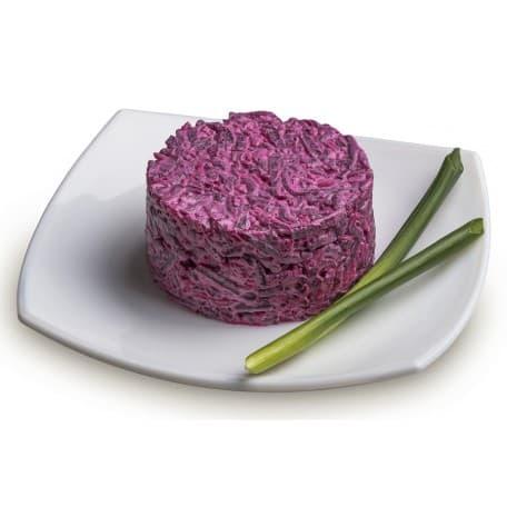 Салат «Винегрет Мясной» (филе куриное, картофель, огурцы солёные, свекла, морковь, фасоль, майонез)