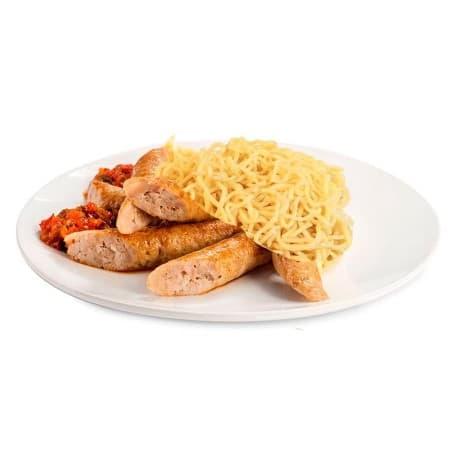 Колбаски «По-Баварски» с горчичным соусом, макароны отварные
