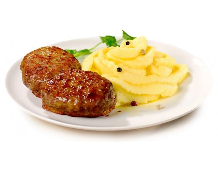 Котлета рыбная, картофельное пюре с соусом тар-тар