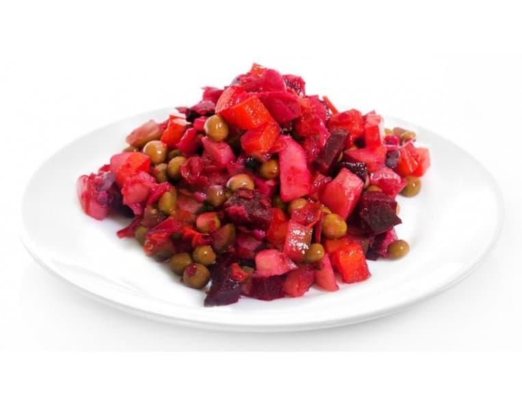 Салат «Винегрет» (свекла, картофель, огурец, морковь, горошек, лук)