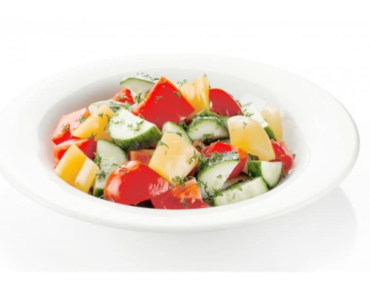 Салат «Радуга вкуса» (огурец, помидор, перец болгарский, кукуруза, фасоль, заправка растительная)