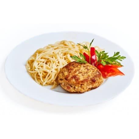 Бифштекс «Старорусский», спагетти в чесночном соусе