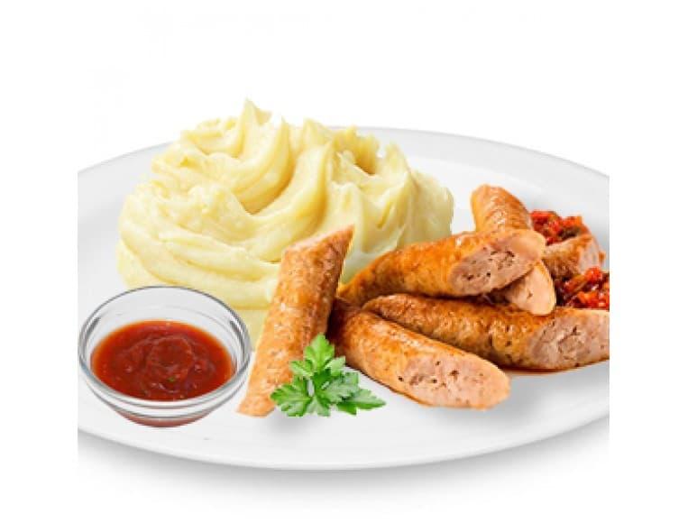 Колбаски «По-Баварски» с соусом «Шашлычным», картофельное пюре