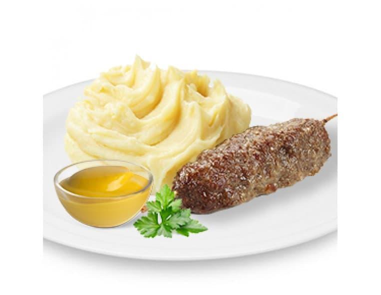 Люля-Кебаб с соусом «Горчичный», картофельное пюре